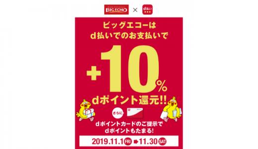 [d払い] ビッグエコーd払い+10%ポイント還元キャンペーン | 2019年11月30日(土)23:59 まで