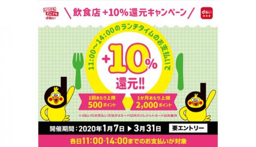 [d払い] 飲食店 d払い+10%還元キャンペーン | 2020年3月31日(火) まで