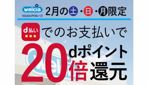 [d払い] dポイント20倍還元キャンペーン | 2020年2月24日(月) まで